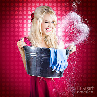 Polkadots Photograph - 60s Retro Cleaning Lady With Metal Water Bucket by Jorgo Photography - Wall Art Gallery