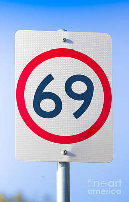 Suggestive Photograph - 69 Road Sign On The Highway Of Love by Jorgo Photography - Wall Art Gallery