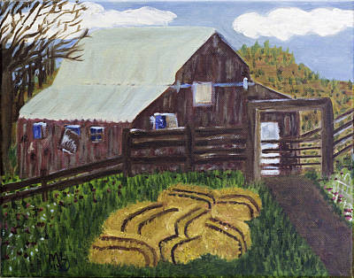 Painting - 7 Bales Of Hay by Mary LaFever