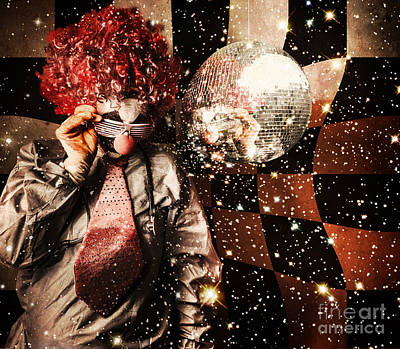 Psychedelic Photograph - 70s Dj Clown Spinning A Nightclub Turntable by Jorgo Photography - Wall Art Gallery