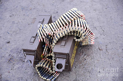 7.62mm Belted Rounds With Ammunition Art Print by Andrew Chittock
