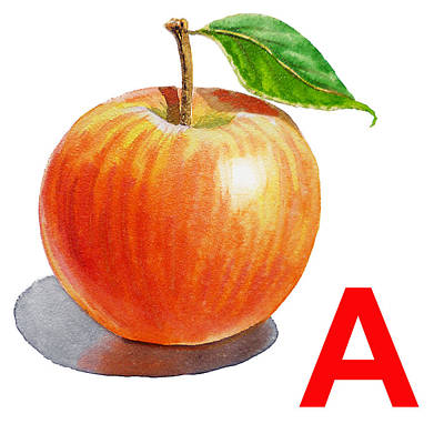 Alphabet Flash Cards Painting - A Art Alphabet For Kids Room by Irina Sztukowski