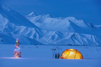 Alaska Photograph - A Backpacking Tent Lit Up At Twilight by Kevin Smith