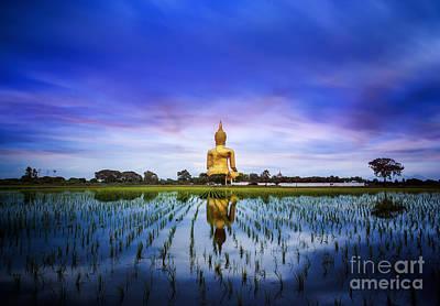 A Biggest Buddha In Thailand Print by Anek Suwannaphoom