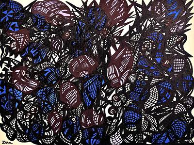 Outsider Painting - A Blue Menagerie by Sally Barnard