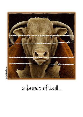 Steer Painting - A Bunch Of Bull by Will Bullas
