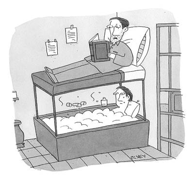 Bunk Drawing - A Bunk Bed With A Bath Tub Instead Of A Lower Bed by Peter C. Vey