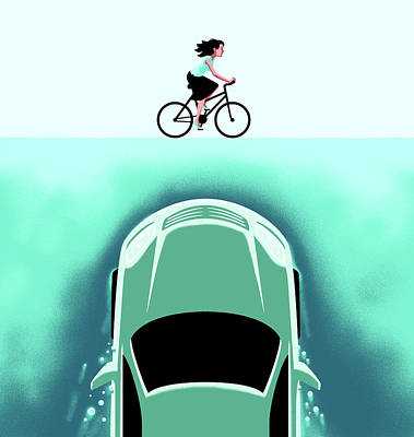 Drawing - A Car Emerges From The Deep Toward A Bicyclist by Christoph Niemann