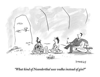 Martinis Drawing - A Caveman And Cavewoman Sit On The Floor by Liza Donnelly