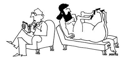Centaur Drawing - A Centaur Reclines On A Couch. His Psychiatrist by Ariel Molvig