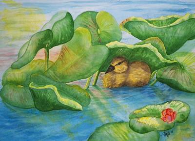 Ducks In Watercolor Painting - A Day Of Rest by Shelly Ziska