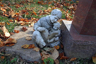 Photograph - A Father Son Grave Sculpture by Cora Wandel