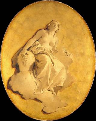Grisaille Painting - A Female Allegorical Figure by Giovanni Battista Tiepolo