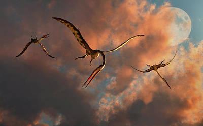 Flying Dinosaur Photograph - A Flock Of Large Quetzalcoatlus by Mark Stevenson