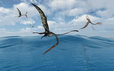 A Flock Of Quetzalcoatlus Fishing Art Print by Mark Stevenson