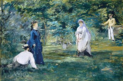 Manet Painting - A Game Of Croquet by Edouard Manet