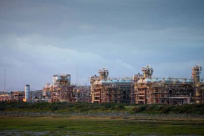 A Gas Processing Plant At Rampside Print by Ashley Cooper