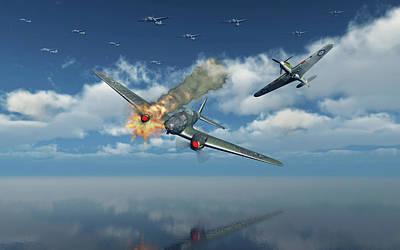 Spitfire Photograph - A German Heinkel He 111 Bomber by Mark Stevenson