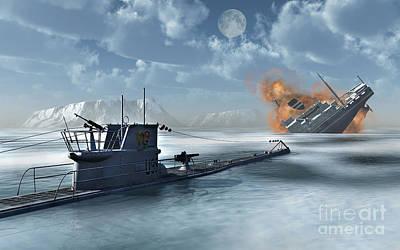 Destruction Digital Art - A German U-boat Attacking And Sinking by Stocktrek Images