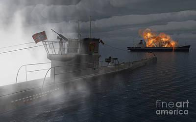 Destruction Digital Art - A German U-boat Moving In Against An by Mark Stevenson
