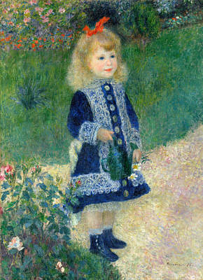 1876 Painting - A Girl With A Watering Can by Pierre-Auguste Renoir