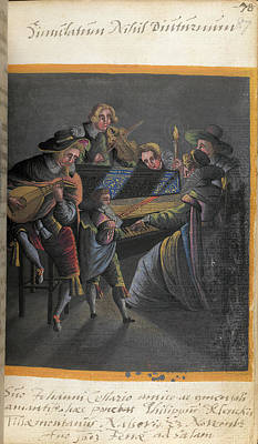 Lute Photograph - A Group Of Musicians by British Library
