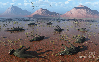Animals Digital Art - A Herd Of Dead Centrosaurus Dinosaurs by Mark Stevenson