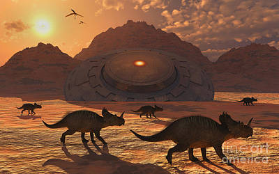 Extraterrestrial Existence Digital Art - A Herd Of Dinosaurs Walk Past A Flying by Mark Stevenson