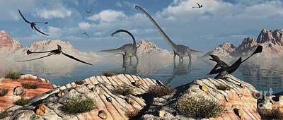 Prehistoric Digital Art - A Herd Of Omeisaurus Dinosaurs Feeding by Mark Stevenson