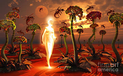 Pest Digital Art - A Hive Queen And Insectoid Drones On An by Mark Stevenson