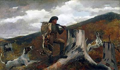 A Huntsman And Dogs Art Print by Winslow Homer