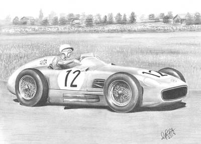 Stirling Moss Drawing - A Knight In Silver Armour by Chris Cox