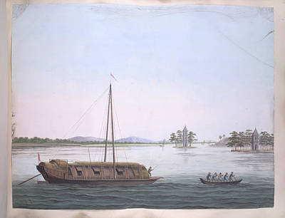 Gouache Photograph - A Large And A Smaller Boat by British Library