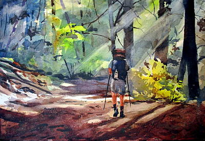 Hiker Painting - A Light Unto My Path by Spencer Meagher
