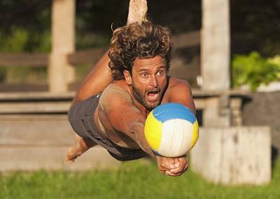 A Man Diving For A Beach Ball Tarifa Art Print