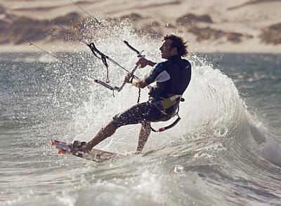 A Man Kitesurfing Tarifa, Cadiz Art Print