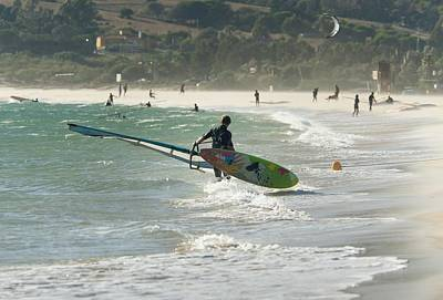 A Man On The Beach With His Windsurfing Art Print