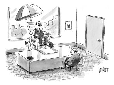 Interview Drawing - A Man Sits In A Tall Lifeguard Chair by Christopher Weyant