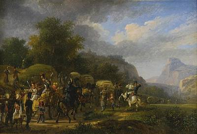 Landscapes Painting - A Military Convoy In A Mountainous Landscape by Celestial Images