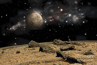 Soil Digital Art - A Moon Rises Over A Rocky And Barren by Marc Ward