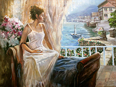 Verandah Painting - A Morning In Italy by Dmitri Kulikov