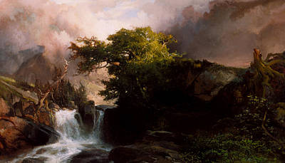 Cloudy Painting - A Mountain Stream by Thomas Moran