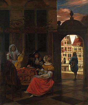 Pieter De Hooch Wall Art - Painting - A Musical Party In A Courtyard by Pieter de Hooch