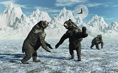 A Pair Of Arctodus Bears Art Print