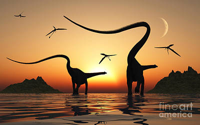 Vesna Antic Abstract Paintings Royalty Free Images - A Pair Of Diplodocus Dinosaurs Royalty-Free Image by Mark Stevenson
