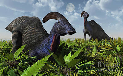 Parasaurolophus Digital Art - A Pair Of Parasaurolophus Duckbill by Mark Stevenson