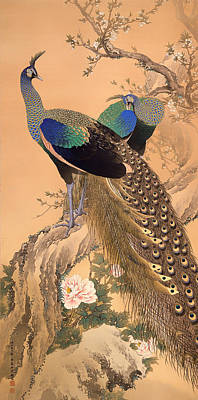 Japanese Silk Painting - A Pair Of Peacocks In Spring by Mountain Dreams