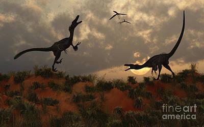 Velociraptor Digital Art - A Pair Of Velociraptors Involved by Mark Stevenson