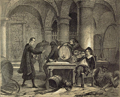 A Party In The Nineteenth Century In The Wine Cellar Print by English School