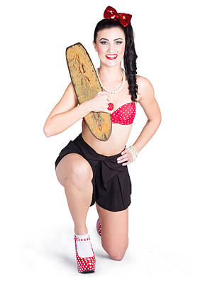 Ponytail Photograph - A Pin Up Girl Holding A Little Wooden Skateboard by Jorgo Photography - Wall Art Gallery
